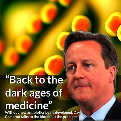 """Medicine will return to the dark ages"" warns Cameron UK's Prime Minister in an interview with the BBC regarding Antibiotic Resistant Bacteria"