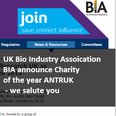 Bio Industry Association BIA announce Antibiotic Research UK charity of the year