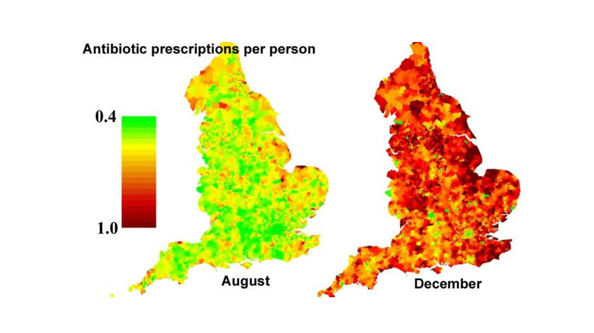 Heat map showing antibiotic prescriptions per person across the UK