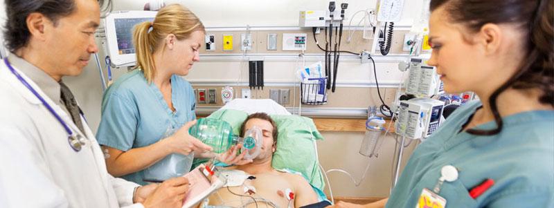 Patient in hospital fighting antibiotic resistant infection