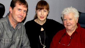 Professor Chris Dowson, Gina McKee and Val McDermid