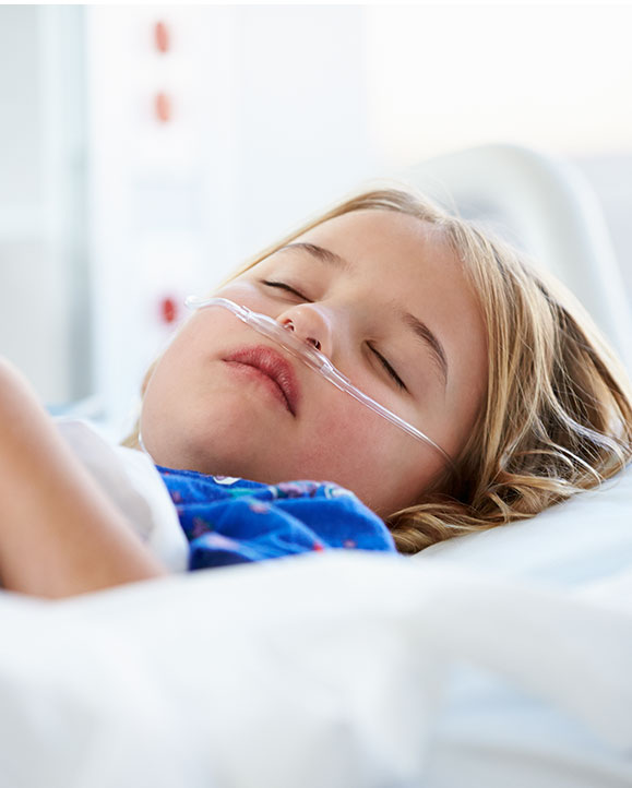 ill child receiving antibiotic treatment