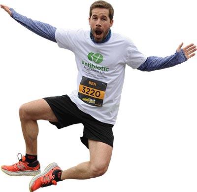 Antibiotic Research UK marathon runner jumping