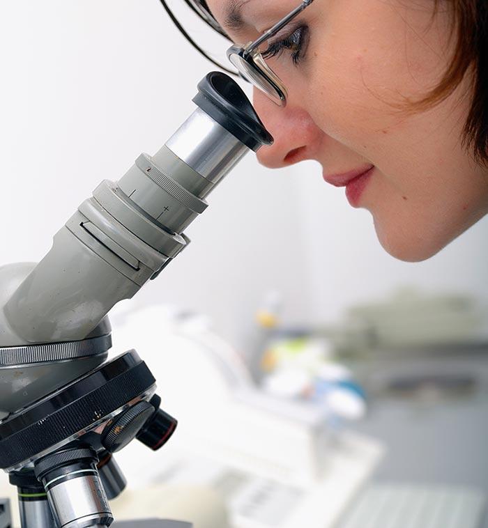 Lady examining bacteria through a microscope