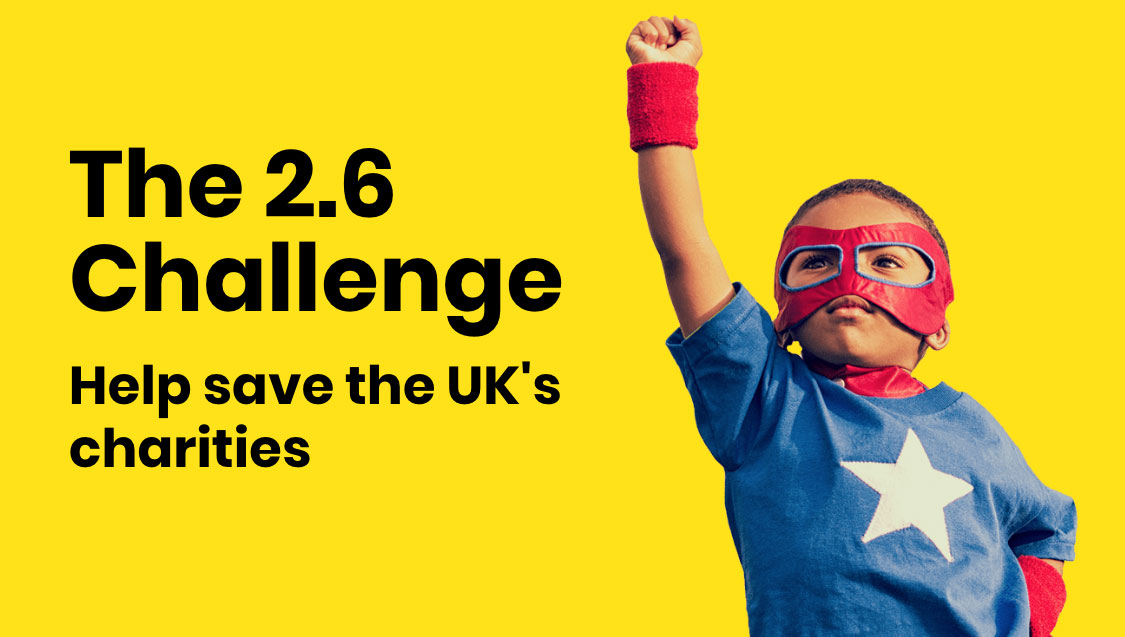 child dressed as a superhero to do the 2.6 challenge