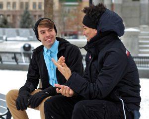 two friends talking about men's health