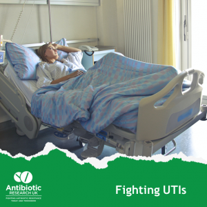 Young woman in hospital with an antibiotic resistant UTI